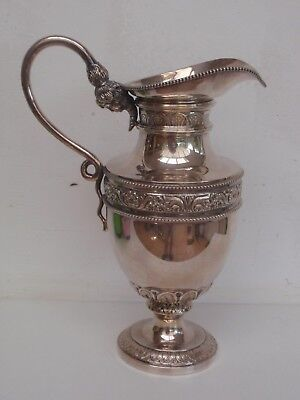 FUNKY 488 gr DUTCH SOLID SILVER WINE JUG WATER PITCHER w FEMALE HEAD NYMPH LOTUS