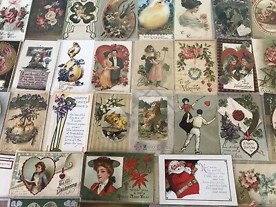 Vintage Mixed Lot of 93 Holidays & Greetings Postcards-Antique-~in Sleeves-p440