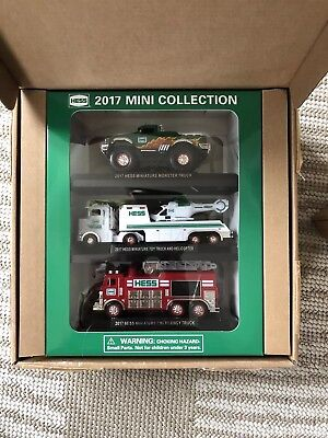 Hess 2017 mini collection - fire truck, monster truck, semi & helicopter!
