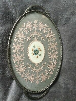 Antique/Vintage Glass Dressing Table Tray, Oval  with Lace Insert