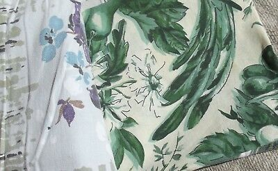 Bundle Vintage French Fabric Chinoiserie 1930s material offcuts birds flowers