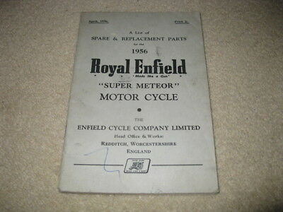 Royal Enfield Motorcycle Spare & Replacement Parts Handbook Manual Super Meteor