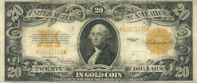 1922 $20 Large Size Gold Certificate ~ George Washington ~ Nice Collector Grade