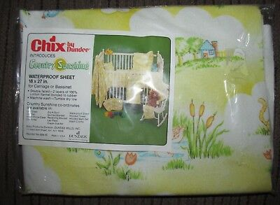 NIP Chix by Dundee COUNTRY SUNSHINE Waterproof Sheet Baby Nursery Vintage
