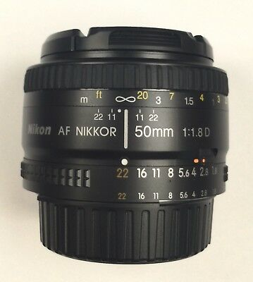 Nikon Nikkor AF 50mm f/1.8 D Lens, barely used, with case, caps, retail box