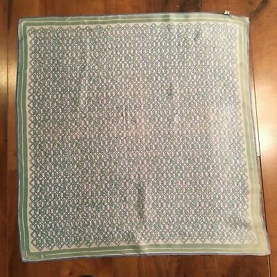 "Vintage Vera Scarf  25"" square, Green Shamrocks, Blue Chain Link Design Japan"