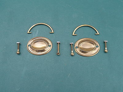 Pair Of Vintage *** Drawer Pull Solid Brass, Antique Dresser Or Chest Of Drawers