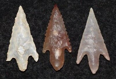 3 nice Sahara Neolithic  stemmed points, nice barbs and style!