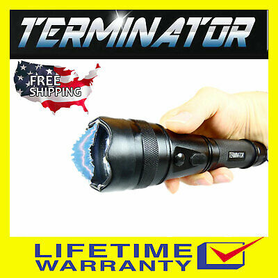 Terminator Stun Gun Max Power with Ear - Piercing Siren - Flashlight Stun Gun