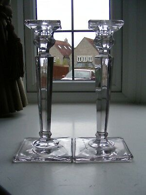 Pair of Vintage Square Base Tall Candlesticks