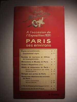 Guide rouge Michelin Paris 1937 Expo universelle