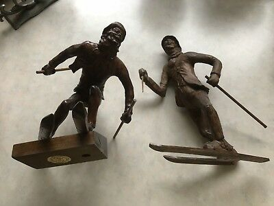 Large Beautifully Carved Black Forest Figures Alpine Pole Cross Country Skiers