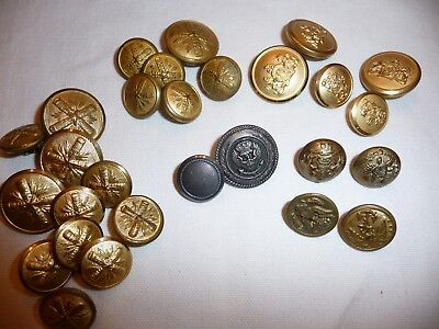 Lot VTG WWII Era Military Uniform Buttons Gold Tone/ Brass Eagle Waterbury