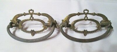 """2 ANTIQUE VINTAGE  BRASS and STEEL ORNATE DRAWER PULLS / HANDLE 4"""" Across-Signed"""