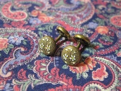 Vintage or Old Pair of 14K Gold Filled Cufflinks - Krementz? French?  Floral