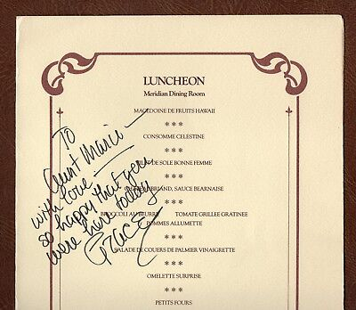 """PRINCESS GRACE: INSCRIBED & SIGNED to """"Aunt Marie"""" CUNARD CHRISTENING 1977 MENU"""