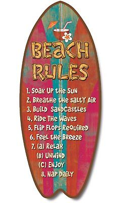 Beach Rules 18 Inch Wood Distressed Surfboard Shaped Sign Plaque Wall Decor