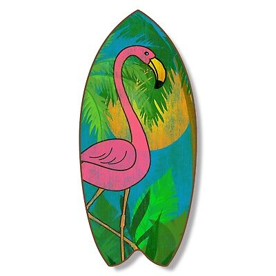 Pink Flamingo 18 Inch Wood Distressed Surfboard Shaped Sign Plaque Wall Decor