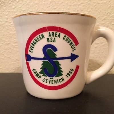 Vintage BSA Boy Scouts of America Mug Cup 1966 Camp Sevenich Evergreen Council