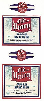 2 dif Union Brewing Old Union Pale Beer labels with necks IRTP's New Orleans LA