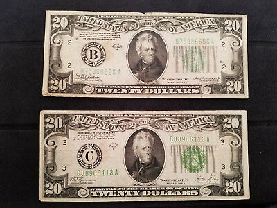 (Lot of 2 $20 USD) 1928 B Gold Certificate & 1934 A Green Seal
