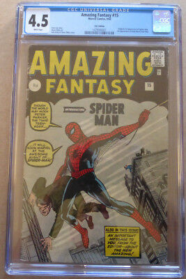 AMAZING FANTASY #15, 1st SPIDER-MAN, SILVER AGE HOLY GRAIL, WHITE PAGES, CGC 4.5