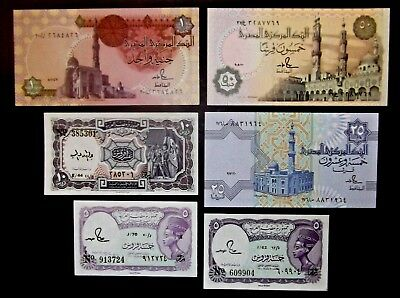(1) Egypt Banknotes Lot Of 6 Notes Auc/unc. See Scans For Condition