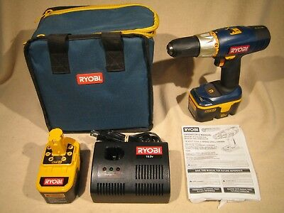 """Ryobi One+ P204 18V 1/2"""" Cordless Drill + 2 Batterys carrying case & Charger"""