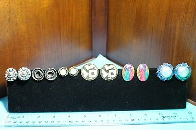 Lot of 6 clip earrings button style vintage estate, play jewerly