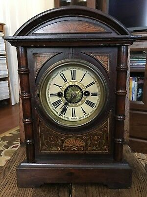 German Antique mantle clock with alarm made by H.A.C. early 1900s