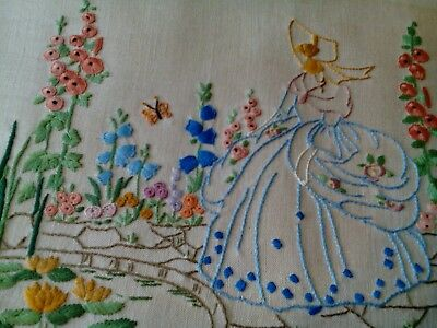 Vintage 1930s  hand embroidered picture panel crinoline lady country garden
