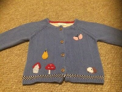 Next Baby Cardigan 6-9 Months Blue Woodland Toadstool Butterfly