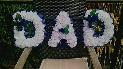 Artificial Funeral Tribute Flowers Dad In Blue And White Choice Of Ribbon Cols