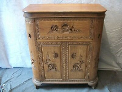 Chinese Antique Deep Hand Carved Mahogany Drinks Cabinet From Circa 1930