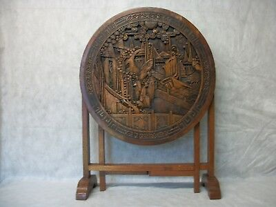 CHINESE ANTIQUE DEEP HAND CARVED MAHOGANY TEE OPIUM FOLD UP TABLE FROM C 1930s