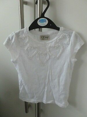 Next white heart top - age 18-24 months