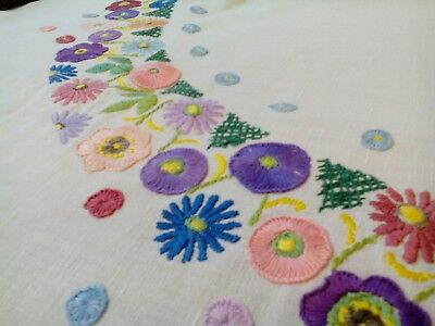 """Vintage Art Deco hand embroidered tablecloth cotton nice condition floral 39x41"""""""