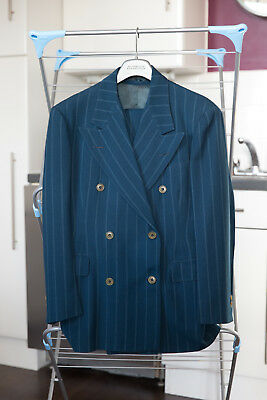 Early 1940s Vintage Double Breasted Pinstripe Teal 3 Piece Suit 37R 32W 28L