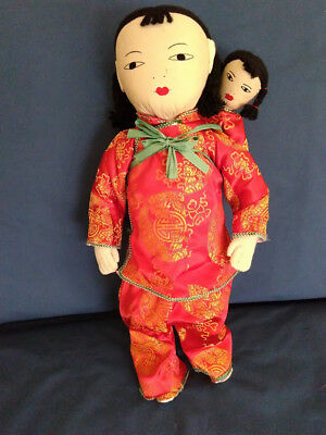 VINTAGE CHINESE CLOTH DOLLS - Mother and Baby - Ada Lum Style