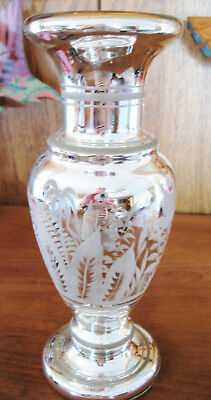 Antique mercury glass vase with frosted birds & foliage, gold interior