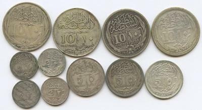 ELEVEN 1900's BRITISH OCCUPATION SILVER EGYPT COINS - 10, 2 and 5 PIASTRES