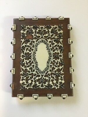 Antique Anglo Indian Sandlewood & Faux bone Visiting Card Case