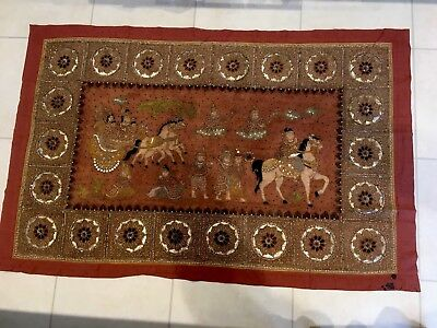 Thai Burmese Tapestry Hand Embroidered Wall Hanging