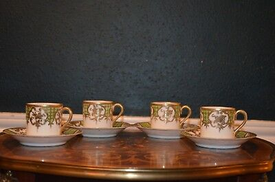 Gorgeous Nippon 8-Piece 4-Cups & 4-Saucers Set Raised Gold Beads &Design mark#52