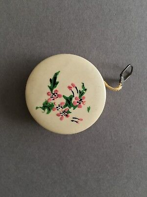 Antique Celluloid Sewing Measuring Tape With Floral Motif