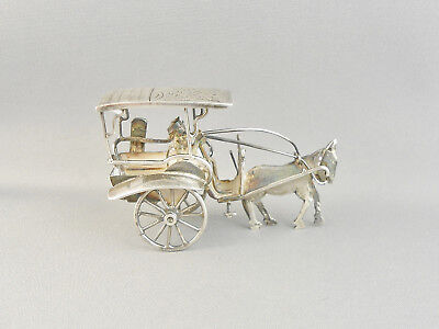 Vintage Indonesian Yogya Deluxe 800 Silver Horse, Cart & Driver Miniature