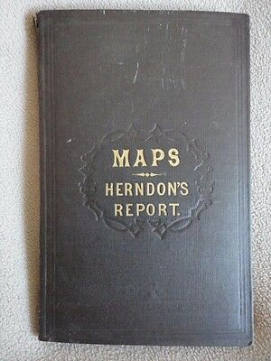 Maps Herndon's Report Valley Amazon Fold Out Spanish Peru Book Map 1830 Vintage