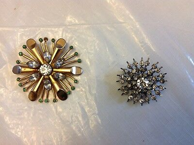 Stunning Vintage Estate Signed Coro Rhinestone Brooch Pair