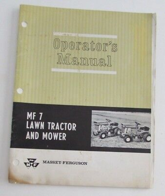 Massey Ferguson MF7 Lawn Tractor Mower Operators Manual MF 7