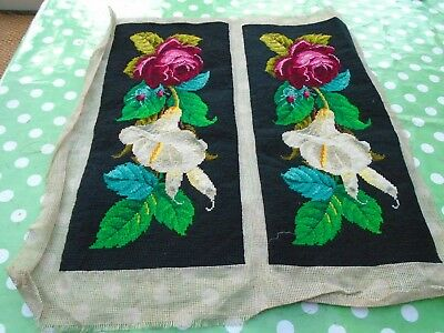 Two pieces of  hand stitched Victorian tapestry panels